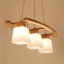 Trapezoidal Island Light Nordic Cream Glass 3-Head Restaurant Drop Pendant in Wood