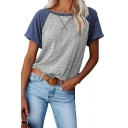 Leisure Womens T Shirt Contrasted Short Sleeve Round Neck Relaxed Fit Tee Top