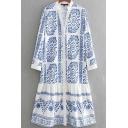 Casual Dress Flower Print Long Sleeve Deep V-neck Short Swing Dress for Women