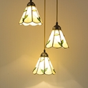 3-Light Conical Hanging Lamp Tiffany Beige Hand-Cut Glass Multi Pendant with Scalloped Edge