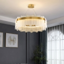 Oblong Glass LED Chandelier Simplicity Suspended Lighting Fixture for Living Room