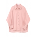 Fashionable Womens Shirt Plain Color Split Side Button down Relaxed Fit Turn down Collar Long Sleeve Shirt