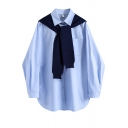 Basic Shirt Womens Chest Pocket Spread Collar Long Sleeve Loose Fit Shirt with Shawl