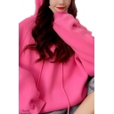 Womens Hoodie Stylish Plain Color Drawstring Tunic Relaxed Fit Long Sleeve Horn-Accent Hoodie