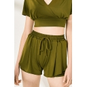 Classic Womens Shorts Plain Color Relaxed Fit Drawstring High Waist Yoga Shorts
