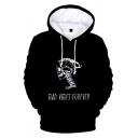 American Rapper BAD VIBES FOREVER Letter Skull Long Sleeve Black Hoodie