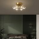 Twist Glass Ball Semi Flush Mount Postmodern Style Brass Ceiling Light for Bedroom