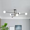 Minimalist 6-Light Ceiling Fixture 3-Tiered Semi Flush Mount Light with Ball Milk Glass Shade
