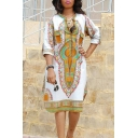 Popular Womens Dress Floral Patterned Half Sleeve Crew Neck Slit Sides Short Relaxed Dress in White