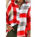 Trendy Womens Shirt Checkered Pattern Single Breasted Long Sleeve Turn-down Collar Loose Fit Shirt
