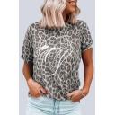 Girls Trendy T Shirt Lip Leopard Print Short Sleeve Crew Neck Relaxed Tee Top
