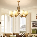 Gold Cone Chandelier Traditional Fabric Living Room Suspension Lighting with Curved Arm