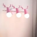 Macaron Antler Vanity Wall Light Metallic Bathroom Rotating Sconce with Open Bulb Design