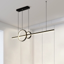 Ring and Bar Shaped Island Lighting Minimalistic Aluminum LED Hanging Light for Dining Room