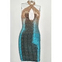 Party Girls Dress Sequins Ombre Criss Cross Halter Cut-out Backless Mini Tight Tank Dress in Blue