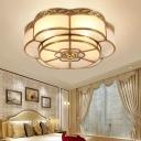 Flower Bedroom Flush Ceiling Light Traditional Frosted Glass Brass Finish Flush Mount Lighting