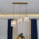 Modern Cylindrical Cluster Pendant Light K9 Crystal Dining Room Suspension Light Fixture