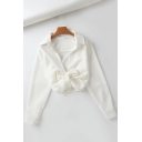 Trendy Womens Shirt Plain Color Open Front Tie-Hem Long Sleeve Regular Fit Turn down Collar Shirt