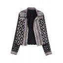 Womens Cool Punk Style Tribal Printed Stand Up Collar Long Sleeve Jacket
