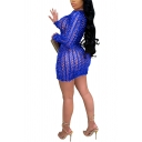 Fashionable Womens Dress Solid Color Hollow out Slim Crew Neck Long Sleeve Mini Bodycon Dress