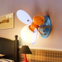 Cartoon Firefly Shaped Wall Lamp Opal Glass 1 Head Child Bedroom Sconce Light in Orange