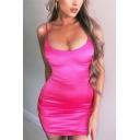 Womens Fashion Plain Fluorescent Pink Rhinestone Strap Sleeveless Mini Cami Dress