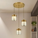 Frosted Glass Gold Finish Hanging Light Geometric 1 Bulb Antiqued Pendant Light over Table