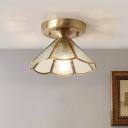 Conical Corridor Flush Light Fixture Minimalist Glass 1 Head Brass Ceiling Light with Scalloped Edge