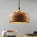 Bowl Shaped Dining Room Pendant Light Wooden 1-Light Nordic Hanging Light Fixture