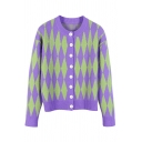 Girls' Fashion Cozy Long Sleeve Crew Neck Button Down Purl-Knit Loose Fit Argyle Cardigan in Purple