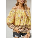Summer Womens Shirt Floral Printed Long Sleeve Off the Shoulder Loose Fit Shirt Top