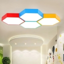 Childrens Flush Light Fixture Hexagonal LED Ceiling Lighting with Acrylic Shade for Kindergarten