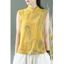 Womens Vintage Tank Linen and Cotton Cartoon Print Sleeveless Mandarin Collar Frog Button Relaxed Fit Tank Top