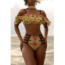 Hot Girls Set Flower Printed Cold Shoulder Ruffled Fit Crop Top & Shorts Set in Yellow