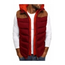 Mens New Trendy Colorblock Print Sleeveless Zip Placket Hooded Padded Vest Jacket
