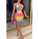 Classic Womens Dress Contrast Sequin Cut out Lace-up Side Backless Mini Tie-Halter Deep V Neck Sleeveless Bodycon Dress