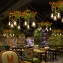 Cage Metal Chandelier Lighting Country Restaurant Suspension Light with Decorative Vine in Wood
