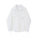 Classic Womens Shirt Plain Color Chest Pockets Tie-Cuff Button up Long Sleeve Spread Collar Oversize Shirt