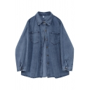 Basic Denim Jacket Womens Faded Wash Chest Pockets Button down Loose Fit Spread Collar Long Sleeve Shirt Jacket