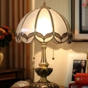 Scalloped Frosted Glass Night Lamp Antiqued 2-Light Living Room Table Light with Pull Chain Switch in Brass