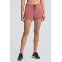 Fancy Womens Shorts Solid Color Drawstring Waist Relaxed Fit Shorts