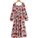 Casual Womens Dress Allover Flower Print Long Sleeve Square Neck Pintuck Mid Pleated A-line Dress in Red
