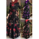 Ethnic Dress Floral Printed Long Sleeve Round Neck Maxi A-line Pleated Dress for Women