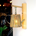 Bamboo Cage Wall Mounted Light Asian Style 1 Head Sconce Lighting for Restaurant