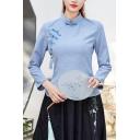 Chinese Style Shirt Solid Long Sleeve Mandarin Collar Frog Button Regular Fit Shirt Top