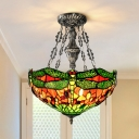 Tiffany Dragonfly Pendant Chandelier 3-Bulb Stained Art Glass Hanging Light with Jewels in Green