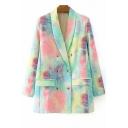Fashionable Womens Jacket Tie Dye Double Breasted Lapel Collar Oversize Long Sleeve Suit Jacket