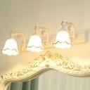 Flower Milky Glass Vanity Lamp Traditional Bathroom Wall Mounted Lighting Fixture