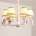 White Empire Shade Chandelier Kids Pleated Fabric Hanging Light with Resin Horse Deco