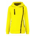 Womens Casual Solid Color Long Sleeve Inclined Zip Slim Fit Leisure Hoodie